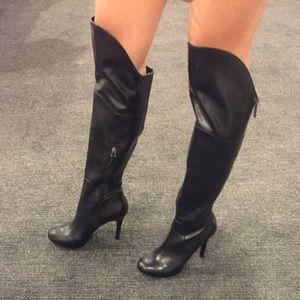 Guess over the knee heeled black boots 7.5